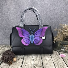 2017 novelty luxury national genuine leather butterfly boston tote handbag vintage black real cow leather one shoulder bag