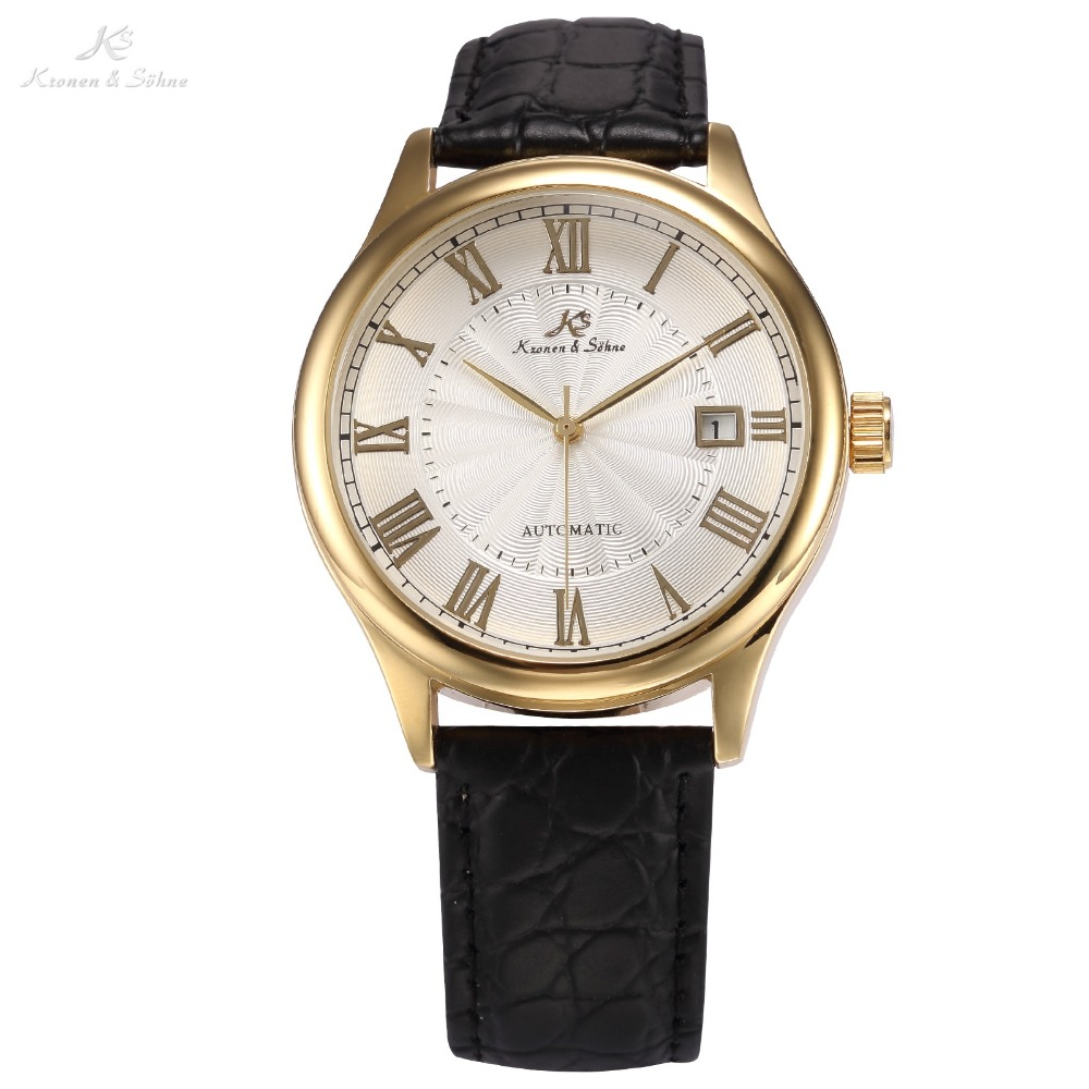 IMPERIAL KS Auto Date Display Roman Numerals Stainless Steel Gold Case Leather Strap Self Wind Clock Men Mechanical Watch /KS241<br>