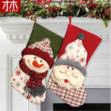 43X22Cm Christmas Stockings Enfeites De Natal Hand Making Crafts Children Candy Gift Bag Santa Bag Elk The Old Man Snowman