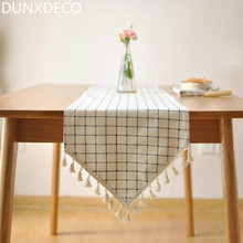 DUNXDECO 1PC Nordic Fresh Blue Check Frindge Linen Cotton Table Runner Party Tablecloth Kitchen Cover Decoration Photo Prop