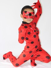 2017 New The Miraculous Ladybug Cosplay Costume Halloween Girls Ladybug Marinette Child Lady Bug Spandex Full Lycra Zentai Suit
