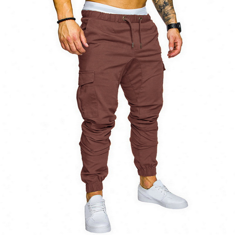 Oeak Men Pants Male Trousers Slim-Fit Solid-Color Hip-Hop Fashion New Multi-Pocket Casual title=