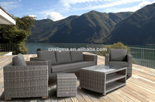 Exclusive aluminum frame poly rattan outdoor sofa designs(China)