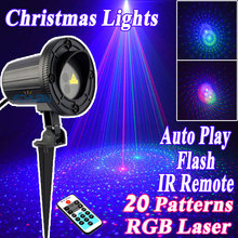 2017 Star Products Outdoor Christmas Laser Projector Lights Showers Decorations For Home 20 Pattern RGB Motion With IR Remote(China)