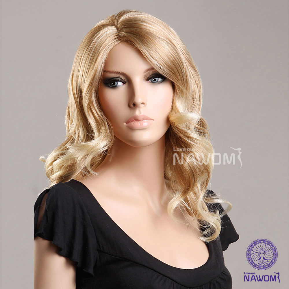 2015 Blonde hair wigs for women/ medium long wigs synthtic 100% Kanekalon wigs online real looking hair wigs<br><br>Aliexpress
