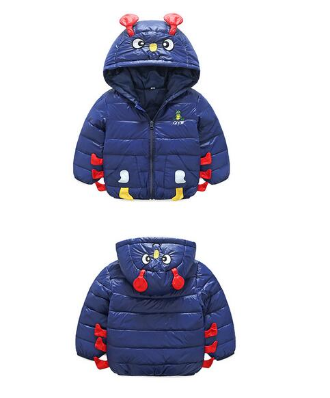 Kids Girls Winter Coats 2017 Hooded Korean Long Sleeve Cartoons Caterpillar WindProof Children Fashion Warm Down Coat Outwear