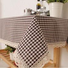 High Quality Brown Pink Plaid Tablecloth Decorative Elegant Linen Table Cover Lace Edge Table Cloth For Home Dinner Lunch