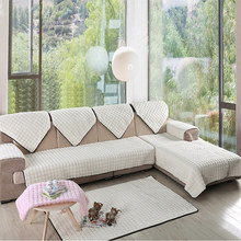 Luxury Furniture Protector for Sofa 2/3 Seat Sofa Slipcover White Sofa Covers Fleece Fabric Couch Covers for Living Room