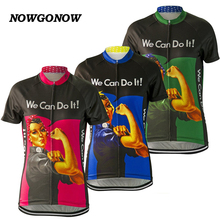 NOWGONOW 2017 women strong cycling jersey blue pink gree clothing cartoon cool bike wear hot road summer  Breathable Pretty tops