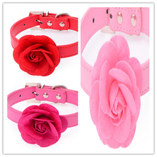 Velvet & Leather Pretty Rose Flower Pet Dog Collar Puppy Necklace 5 candy color mini dog necklet cat neck band Reindeer Collar(China)