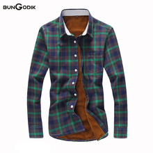 Bungodik Autunm Winter Season Thickening Cotton Plaid Fleece Men's Shirts Slim Plus Size Full Fashion Long-sleeved Warm Shirts