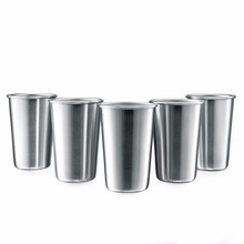 AQUARIUS Premium Stainless Steel Pint Cups Tumblers for Beer Coffee unbreakable Stackable 480mL 16Oz 5pcs