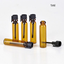 100 x 1ml  Amber mini perfume Glass bottle  Small Sample Parfum vials tester trial Perfume bottle with Black Stoppers