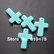 10Pcs/Lot 21mm*30mm*5.6mm Synthetic Stone large cross  beads  loose beads for jewelry making blue color