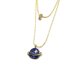 Gold Color Sweet Blue Saturn Planet Star Moon Design Pendant Necklace Wholesale for Women Jewelry