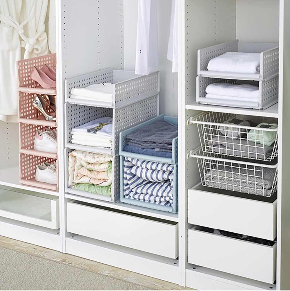 Stackable Sliding Clothing Storage Basket For Wardrobe Clothes Storage Rack Kitchen Fridge Organizer Sundries Shelves