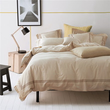 Yellow Color 40S Cotton Bedding Sets for Hotel,4pc Bed Sheet ,100% Cotton 133x72 Cotton Hotel 5 Star Hotel Bedlinen