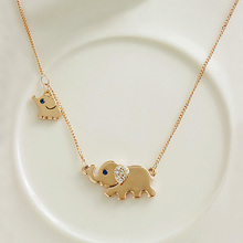 Rose Gold Color Mother Elephant with Cute Little Baby Elephant Necklace Womens Jewelry with Crystals(China)