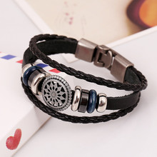 2017 Vintage Wind Multilayer Leather Bracelet For Men and Women Alloy Beads Floral Hand Woven Bracelet Bangle All-match Pulsera