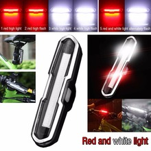 Dual Color USB Rechargeable COB LED Bike Bicycle Light Mountain Cycling Bicycle Safety Rear Tail Lamp Portable Spotlight(China)