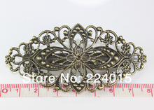 Free shipping 20pcs/79x35mm Ancient Bronze Tone Filigree Flower Wraps Arch French Barrette Clips For Hair Accessories Connectors