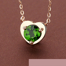 Large 1Carat 18K Gold Natural Diopside Pendant Green Gemstone Heart Design Jewelry Valentine Christmas Prensent Gift(China)