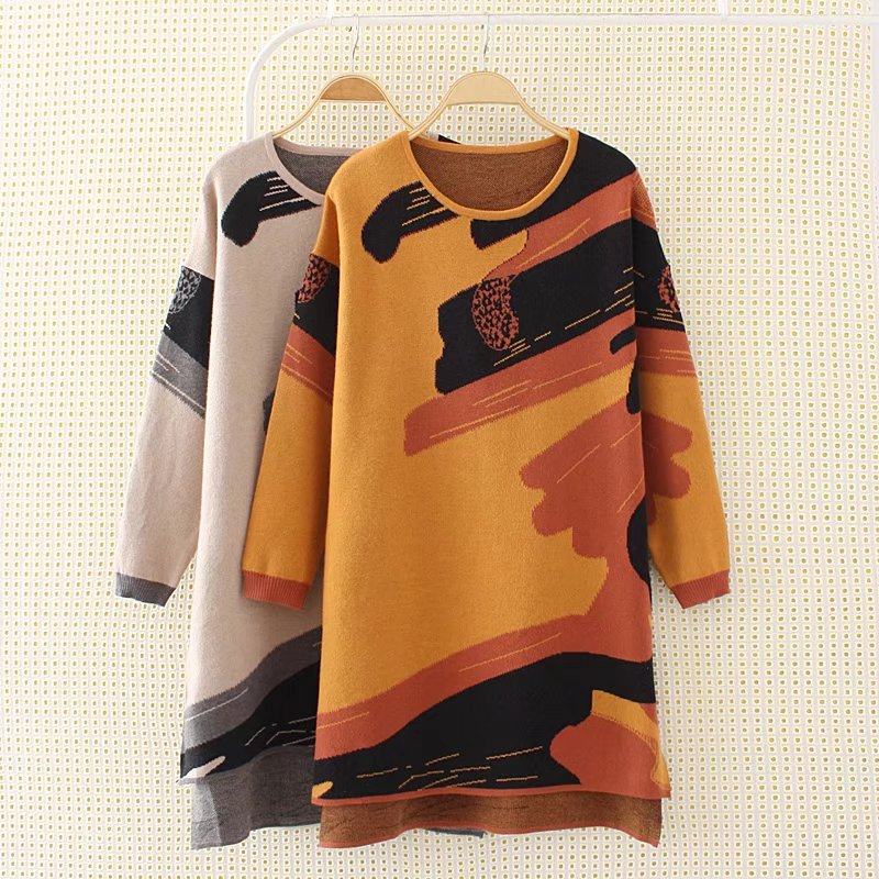 Plus size 4XL loose Knitted fabric women winter dress 2017 casual ladies O-neck long sleeve vestidos female orange &amp; khakiÎäåæäà è àêñåññóàðû<br><br>