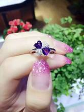 Natural amethyst Ring Natural gemstone Ring 925 sterling silver trendy Elegant heart  clover women's girl party Jewelry