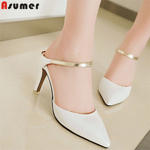 ASUMER 큰 size 34-46 패션 summer new shoes woman 첨 발가락 얕은 (high) 저 (힐 shoes 우아한 샌들 women slingback(China)