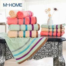 High Quality Bamboo Fiber Towel Set Satin Plain Face Towel 35x73cm Striped Bath Towel 70x140cm Hotel Towels Quick Absorbency(China)