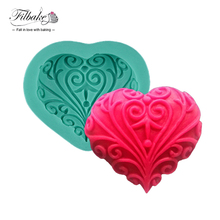 FILBAKE DIY Cake Loving Heart Lace Shaped Soap Ice Fondant Sugar Art Tools Cake Chocolate Decorating Tools 3D Silicone Molded