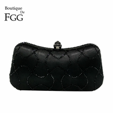 Dazzling Black Crystal Women Evening Party Clutches Bag Rhinestones Wedding Clutch Bridal Handbags and Purses Bolsos De Noches