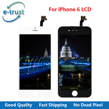 e-trust China Supplier For iPhone 6 LCD Display Touch Screen Digitizer Assembly With Home Button + Front Camera + Free Shipping(China)