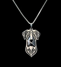 Gold & silver 1pcs Natural Eared Great Dane Necklace 3D Cut Out Puppy Dog Love Pendant Memorial Necklaces Pendants Christma Gift(China)