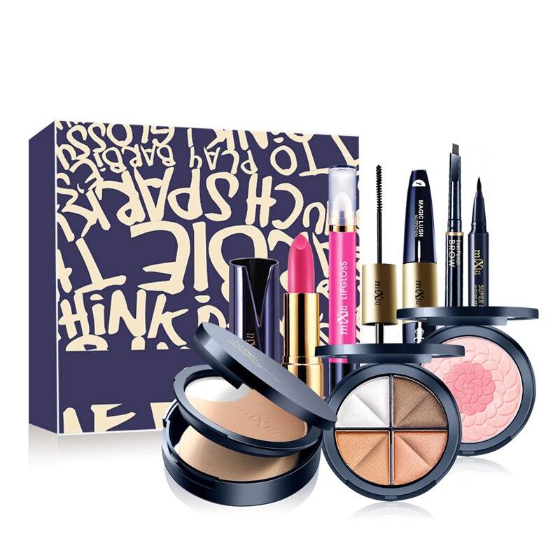 8 PCS Makeup Set Cosmetic Set Of Lipstick Make Up Kit Lip Gloss Mascara Eyeshadow Eyebrow Powder Korean Gift Sets Of Cosmetics<br>