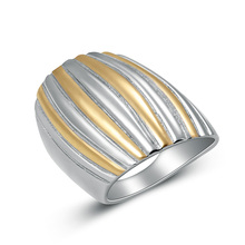 Top Fashion Stainless Steel Silver/Gold Color Simple Wide Ring For Women Charm Stripe Design Ladies Jewelry Wholesale (A718-907)(China)
