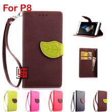 New Cheap Best Leaf Clasp Buckle PU Leather Lather Leathe Flip Wallet Phone Cellphone Cell Case Cover Bag For Huawei P8 Brown