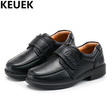 NEW School Student Black Uniform Shoes Children Genuine Leather Dress Performance shoes Boys Kids Leather Shoes Flat 044(China)