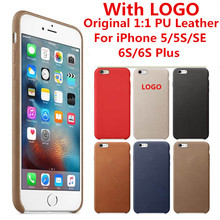 Luxury Case For iPhone 5s 5 SE  6 6s 7 Plus PU Leather With LOGO Original 1:1 Copy Back Cover Office Cell Phone bags Cases