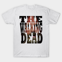 2017 New Fashion High Quality Men The Walking Dead Print T-Shirt Hipster O-Neck Letter Design T Shirt Hip Hop Tees Free Shipping