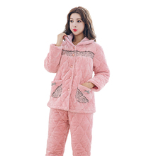 Newest Winter Thick Warm Women Flannel Pajamas Set Coral Fleece Comfortable Soft High Quality Women Causal Pajamas Free Shipping(China)