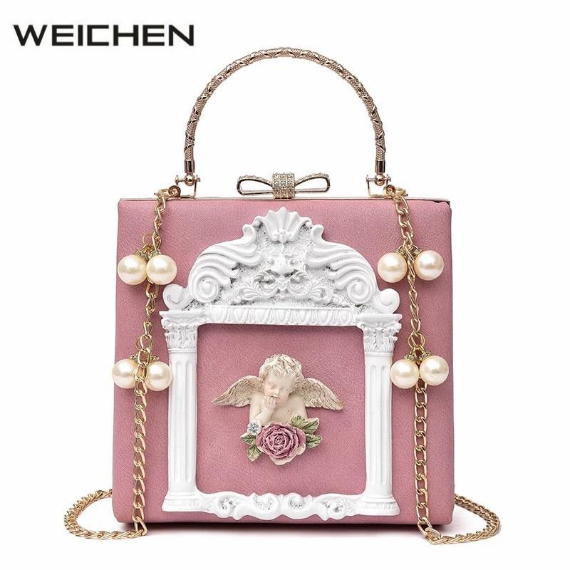 Baroque Angel Relief Women Handbags Vintage Cupid Womens Top-Handle Bag Pearl Ladies Shoulder Messenger Bags Clutch Bag Pink<br>