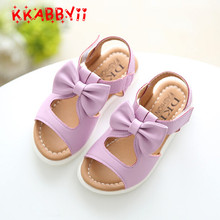 KKABBYII Summer Girls Sandals Children Shoes Princess Dress Shoes Kids Girls Bowtie Beach Sandals PU Leather Shoes Size 21-37