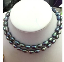 charming 12-14mm natural south sea black grey pearl necklace 17inch18inch