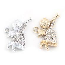 20PCS Crystal Silver Plated Angel Charms Pendants Necklace DIY Making Crafts Wholesale 23*17mm(China)