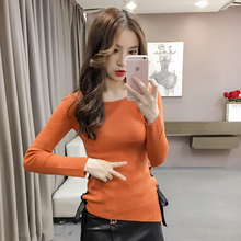New Women Shirts Knitting Solid O-Neck Install Bind Hypotenuse Base Sweater Blouse Shirt Khaki Orange White Black 501(China)