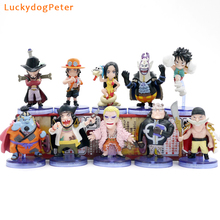 One Piece 10pcs/set Luffy Ace Action Figures 1/16 scale painted figure Mihawk Doflamingo Hancock Jinbe Teach Dolls PVC figure(China)
