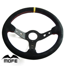 SPECIAL OFFER HOT SALE Original Logo 14 inch / 350mm 90mm Deep Dish Red Stitch 3 Black Spokes Racing Suede Steering Wheel
