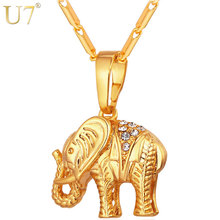 U7 Thailand Elephant Necklaces Lucky Jewelry Silver/Gold Color Trendy Rhinestone Animal Pendants & Chains Men/Women Gift P563