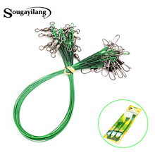 60pcs Strong Fishing Cord for Fly Leash 15cm 21cm 30cm the Steel Wire Fishing Accessories Green Trace Leader Rope Fishing Line(China)